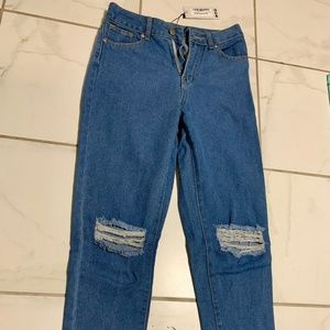 Medium Wash Distressed Fitted Jeans Size 4 (NEW)